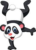 Panda cartoon standing on his hand