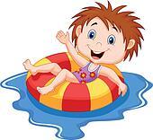 Cartoon Girl floating on an inflata