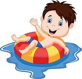 Cartoon Boy floating on an inflatab