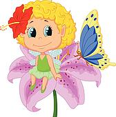 Baby fairy elf cartoon sitting on f