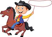 Cartoon Cowboy rider on the horse t