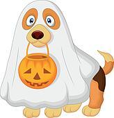 Cartoon Dog dressed up as a spooky