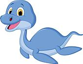 Cute dinosaur cartoon swimming