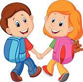 Cartoon Boy and girl with backpacks