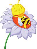 Little bee cartoon sleeping on the