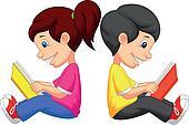 Cartoon Boy and girl reading book