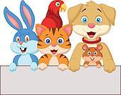 Cartoon pet animals holding blank p
