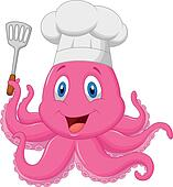 Octopus chef cartoon holding spatul