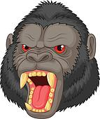 Angry gorilla head cartoon characte