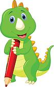 Cute dinosaur cartoon holding red p