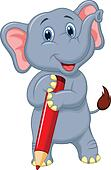Cute elephant cartoon holding red p