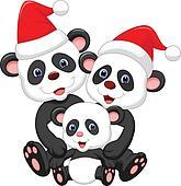 Cute panda family cartoon wearing r