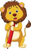 Cute lion cartoon holding red penci
