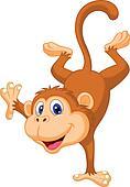 Cute monkey cartoon standing in its