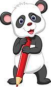 Cute panda bear cartoon holding red