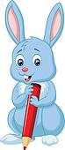 Cute rabbit cartoon holding red pen