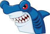 Hammerhead shark mascot cartoon cha