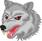 Angry wolf cartoon character