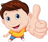 Boy cartoon with thumb up