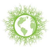 Eco friendly green earth planet with ecology roots vector