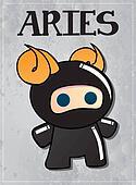 Zodiac sign Aries with cute ninja