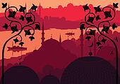 Vintage Arabic city landscape background