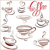 Set of coffee cups icons, stylized sketch symbols for restaurant or cafe menu.