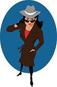 Female secret agent or private dete