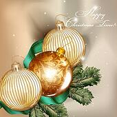 Christmas background  with detailed baubles and fir tree branche