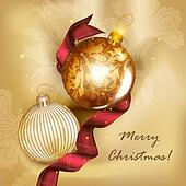 Christmas greeting card with detailed baubles and silk tissue