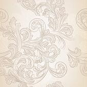 Seamless vector wallpaper pattern with swirl floral element