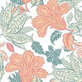 Vector seamless wallpaper pattern with floral elements