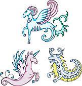 mythic sea goats and unicorn