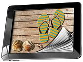 Sea Holiday in Tablet Computer with Pages