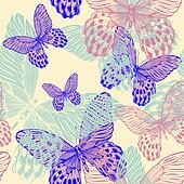 Seamless decorative pattern with colorful butterflies, hand-drawing. vector illustration.