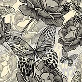 Seamless pattern with blooming wild roses and decorative butterflies, hand-drawing. Vector illustration.