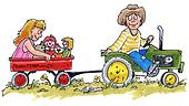 kids on a tractor