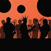 Rock concert various musicians landscape background illustration vector
