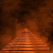 Staircase leading to heaven or hell. Light at the End of the Tunnel