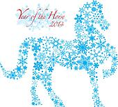 2014 Chinese Horse with Snowflakes Pattern Illusrtation