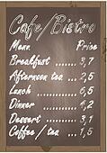 Cafe or bistro food menu chalkboard background illustration