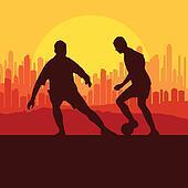 Soccer player vector background concept city landscape