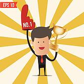 Business man show number one - Vector illustration - EPS10