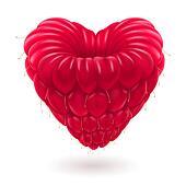 Raspberry in heart shape.
