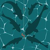 Fishes and a worm on a fish hook underwater vector background
