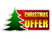 christmas offer - text and christmas tree sign on red banner with snowflakes, business holiday concept