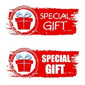 christmas special gift and present box on red drawn banner