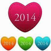 new year 2014 in colorful hearts