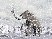 Mammoth in winter - 3D render