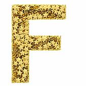 Letter F composed of golden stars isolated on white